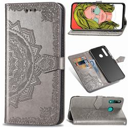 Embossing Imprint Mandala Flower Leather Wallet Case for Huawei P Smart Z (2019) - Gray