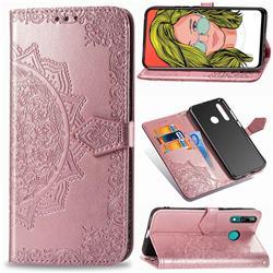 Embossing Imprint Mandala Flower Leather Wallet Case for Huawei P Smart Z (2019) - Rose Gold