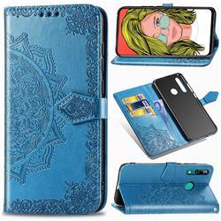 Embossing Imprint Mandala Flower Leather Wallet Case for Huawei P Smart Z (2019) - Blue