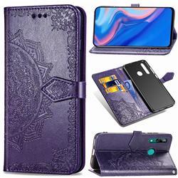 Embossing Imprint Mandala Flower Leather Wallet Case for Huawei P Smart Z (2019) - Purple