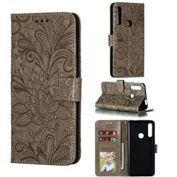 Intricate Embossing Lace Jasmine Flower Leather Wallet Case for Huawei P Smart Z (2019) - Gray