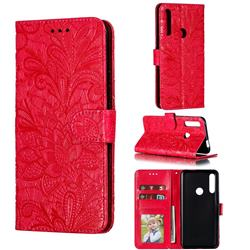 Intricate Embossing Lace Jasmine Flower Leather Wallet Case for Huawei P Smart Z (2019) - Red