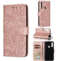 Intricate Embossing Lace Jasmine Flower Leather Wallet Case for Huawei P Smart Z (2019) - Rose Gold