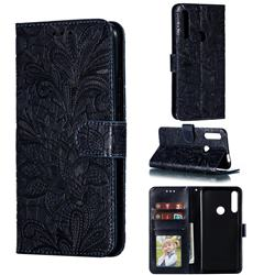 Intricate Embossing Lace Jasmine Flower Leather Wallet Case for Huawei P Smart Z (2019) - Dark Blue