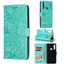 Intricate Embossing Lace Jasmine Flower Leather Wallet Case for Huawei P Smart Z (2019) - Green