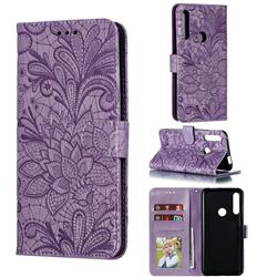 Intricate Embossing Lace Jasmine Flower Leather Wallet Case for Huawei P Smart Z (2019) - Purple
