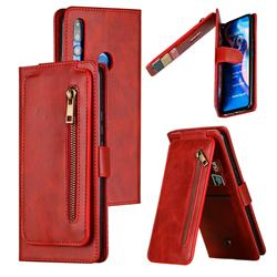 Multifunction 9 Cards Leather Zipper Wallet Phone Case for Huawei P Smart Z (2019) - Red