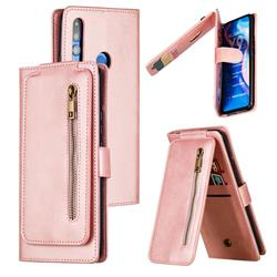 Multifunction 9 Cards Leather Zipper Wallet Phone Case for Huawei P Smart Z (2019) - Rose Gold