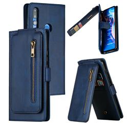Multifunction 9 Cards Leather Zipper Wallet Phone Case for Huawei P Smart Z (2019) - Blue