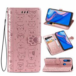 Embossing Dog Paw Kitten and Puppy Leather Wallet Case for Huawei P Smart Z (2019) - Rose Gold