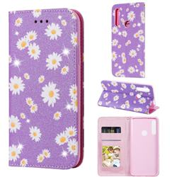 Ultra Slim Daisy Sparkle Glitter Powder Magnetic Leather Wallet Case for Huawei P Smart Z (2019) - Purple