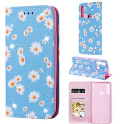 Ultra Slim Daisy Sparkle Glitter Powder Magnetic Leather Wallet Case for Huawei P Smart Z (2019) - Blue