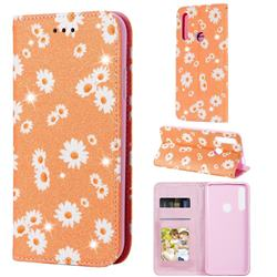 Ultra Slim Daisy Sparkle Glitter Powder Magnetic Leather Wallet Case for Huawei P Smart Z (2019) - Orange