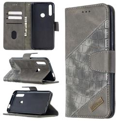 BinfenColor BF04 Color Block Stitching Crocodile Leather Case Cover for Huawei P Smart Z (2019) - Gray