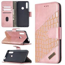 BinfenColor BF04 Color Block Stitching Crocodile Leather Case Cover for Huawei P Smart Z (2019) - Rose Gold