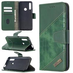 BinfenColor BF04 Color Block Stitching Crocodile Leather Case Cover for Huawei P Smart Z (2019) - Green