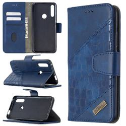 BinfenColor BF04 Color Block Stitching Crocodile Leather Case Cover for Huawei P Smart Z (2019) - Blue