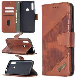 BinfenColor BF04 Color Block Stitching Crocodile Leather Case Cover for Huawei P Smart Z (2019) - Brown