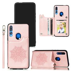 Luxury Mandala Multi-function Magnetic Card Slots Stand Leather Back Cover for Huawei P Smart Z (2019) - Rose Gold