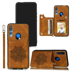 Luxury Mandala Multi-function Magnetic Card Slots Stand Leather Back Cover for Huawei P Smart Z (2019) - Brown