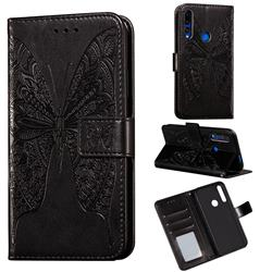 Intricate Embossing Vivid Butterfly Leather Wallet Case for Huawei P Smart Z (2019) - Black