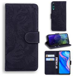 Intricate Embossing Tiger Face Leather Wallet Case for Huawei P Smart Z (2019) - Black