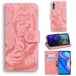 Intricate Embossing Tiger Face Leather Wallet Case for Huawei P Smart Z (2019) - Pink