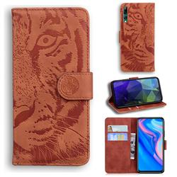 Intricate Embossing Tiger Face Leather Wallet Case for Huawei P Smart Z (2019) - Brown
