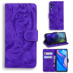 Intricate Embossing Tiger Face Leather Wallet Case for Huawei P Smart Z (2019) - Purple