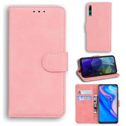 Retro Classic Skin Feel Leather Wallet Phone Case for Huawei P Smart Z (2019) - Pink
