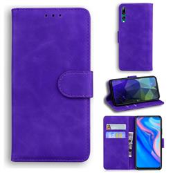 Retro Classic Skin Feel Leather Wallet Phone Case for Huawei P Smart Z (2019) - Purple