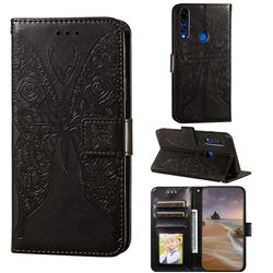 Intricate Embossing Rose Flower Butterfly Leather Wallet Case for Huawei P Smart Z (2019) - Black
