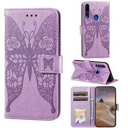Intricate Embossing Rose Flower Butterfly Leather Wallet Case for Huawei P Smart Z (2019) - Purple