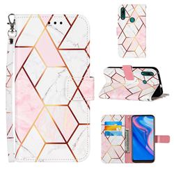 Pink White Stitching Color Marble Leather Wallet Case for Huawei P Smart Z (2019)