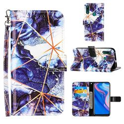 Starry Blue Stitching Color Marble Leather Wallet Case for Huawei P Smart Z (2019)