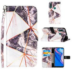 Black and White Stitching Color Marble Leather Wallet Case for Huawei P Smart Z (2019)