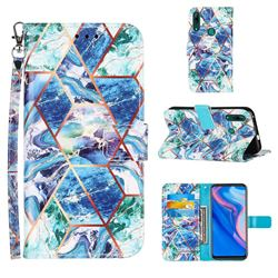 Green and Blue Stitching Color Marble Leather Wallet Case for Huawei P Smart Z (2019)