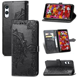 Embossing Imprint Mandala Flower Leather Wallet Case for Rakuten Hand - Black