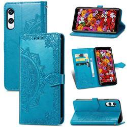 Embossing Imprint Mandala Flower Leather Wallet Case for Rakuten Hand - Blue
