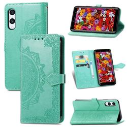 Embossing Imprint Mandala Flower Leather Wallet Case for Rakuten Hand - Green