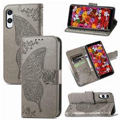Embossing Mandala Flower Butterfly Leather Wallet Case for Rakuten Hand - Gray