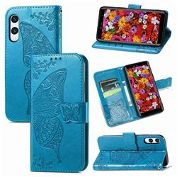 Embossing Mandala Flower Butterfly Leather Wallet Case for Rakuten Hand - Blue