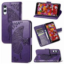 Embossing Mandala Flower Butterfly Leather Wallet Case for Rakuten Hand - Dark Purple