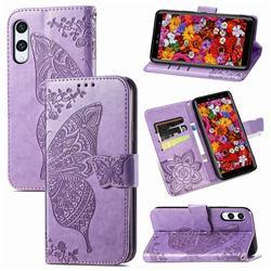 Embossing Mandala Flower Butterfly Leather Wallet Case for Rakuten Hand - Light Purple