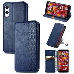 Ultra Slim Fashion Business Card Magnetic Automatic Suction Leather Flip Cover for Rakuten Hand - Dark Blue