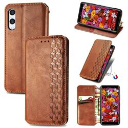 Ultra Slim Fashion Business Card Magnetic Automatic Suction Leather Flip Cover for Rakuten Hand - Brown