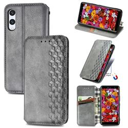 Ultra Slim Fashion Business Card Magnetic Automatic Suction Leather Flip Cover for Rakuten Hand - Grey