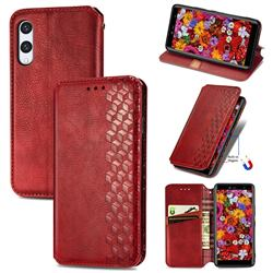 Ultra Slim Fashion Business Card Magnetic Automatic Suction Leather Flip Cover for Rakuten Hand - Red