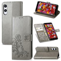 Embossing Imprint Four-Leaf Clover Leather Wallet Case for Rakuten Hand - Grey