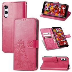 Embossing Imprint Four-Leaf Clover Leather Wallet Case for Rakuten Hand - Rose Red